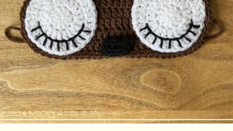 Free bear sleep mask crochet pattern