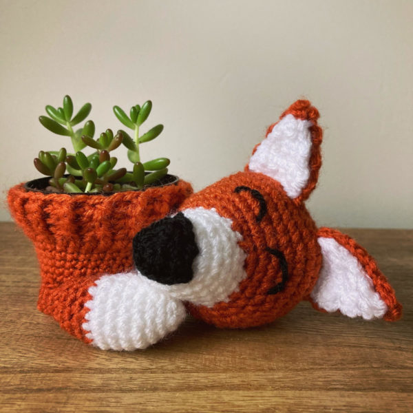 Sleepy Fox Plant Pot Cover Crochet Pattern